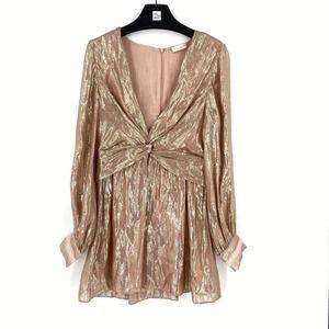 Ramy Brook Elsie Plunging Shimmer Mini Dress 8